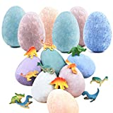 Bath Bombs for Kids - Set of 6 Colorful Egg Bath Fizzies with Dinosaur Surprise Random Toy Inside - Easter Toy Gifts - Fun Educational Dino Egg Fizzy Set (6pack)