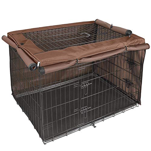 Explore Land Dog Crate Cover for 48 Inches Wire Cage, Heavy-Duty Lattice Pet Kennel Covers Compatible with 1 2 3 Doors Standard Metal Crate (Brown)