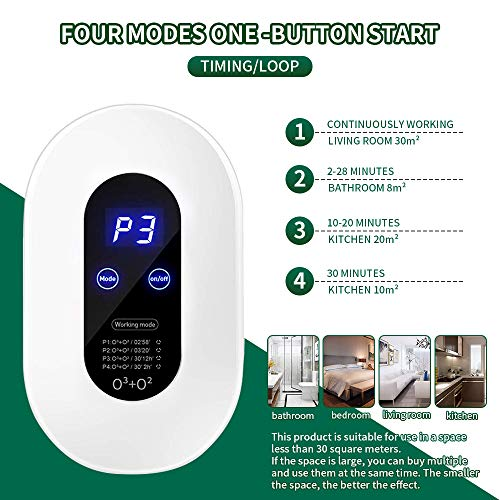 LIULIU Ozone Generator Air Purifier with 4 Modes Mini O3 Air Machine, Portable Home Air Cleaner for Bathroom, Bedroom,Kitchen, Closets