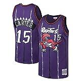 HANJIAJKL Camiseta de Baloncesto para Hombre,NBA Toronto Raptors #15 Vince Carter #1 Tracy McGrady,Bordado Camiseta para Fan,Purple 15#,S