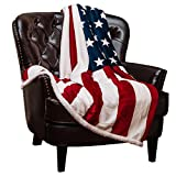 Chanasya Patriotic US Flag Print Sherpa Throw Blanket - Lightweight Microfiber for Couch and Bed - Great Gift for Veteran, Friend, Men, Women, Proud American House (50x65 Inches)