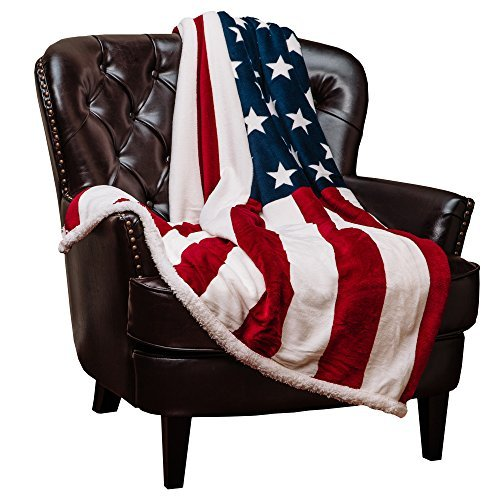 US Flag Sherpa Throw Blanket