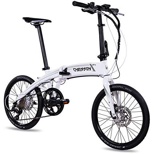 CHRISSON 20 inch E-Bike City vouwfiets EF3 wit - E-vouwfiets met Bafang naafmotor 250 W, 36 V en 45 Nm, Pedelec vouwfiets voor dames en heren, praktische elektrische vouwfiets, perfect voor de stad