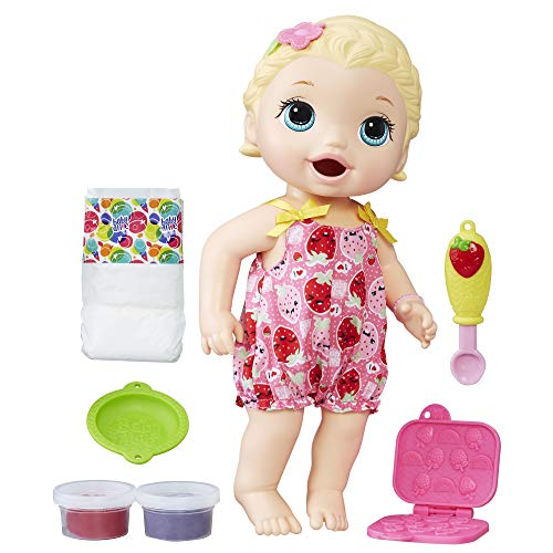 Baby Alive Super Snacks Snackin' Lily Baby: Blonde Baby Doll That Eats, with Reusable Doll Food, Spoon and 3 Accessories, Doll for 3-Year-Old Girls and Boys and Up (Amazon Exclusive)