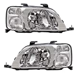 Brock Replacement Driver and Passenger Headlights Headlamps Compatible with 1997-2001 CR-V 33151S10A01 33101S10A01