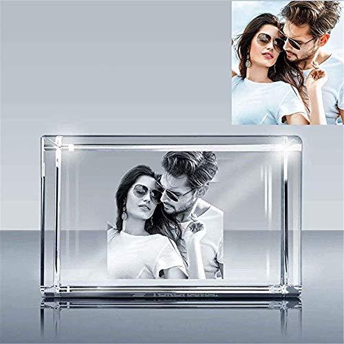 Grabado láser en 2D / 3D personalizado Cube Cristal de cristal grabado al agua fuerte, Marco de cristal personalizado con su propia foto. Los mejores regalos para bodas, aniversario, Día de la Madre.