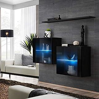 ASM SWITCH III Juego de aparador con estante de pared de 130 cm de ancho dos gabinetes de exposición puertas de cristal...