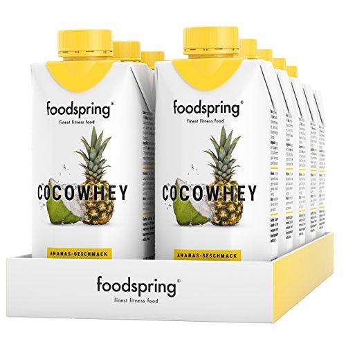 foodspring CocoWhey en pack de 12, Ananas, 12x330ml, La boisson protéinée isotonique