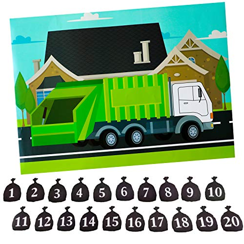 Finds Fit 4U Garbage Truck Party Game - Trash Truck Birthday Party Supplies -Fun for All Ages - Pin The Garbage on The Garbage Truck