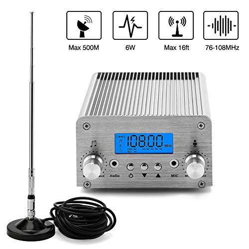 FM Broadcast Transmitter, Elikliv 6W LCD PLL Wireless Radio Stereo Broadcast Range 76~108MHz FM Transmitter for Church,Car Theater,Radio Station,Supermarket