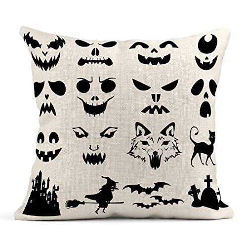 Dekokissen Gesicht von Halloween Kürbisse Geschnitzte Silhouetten Schablone Katze gruselig Fledermäuse Leinen Kissen Home dekorative Kissen
