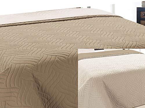 Zweiseitige Tagesdecke Bettüberwurf 1 TLG. Vigo Cappuccino Ecru- 011, 170x210 cm