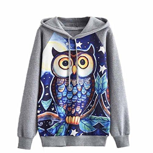 FUNIC Womens Hoodie, Owl Printing Long Sleeve Hoodie Sweatshirt Jumper Hooded Pullover Tops Blouse (XL, Gray)