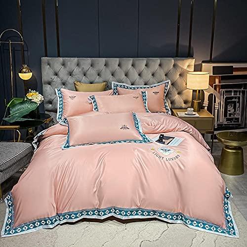 funda de edredón 220x240,Juego de cuatro piezas de seda de hielo de doble cara europea, lavado de agua Simulación de seda de seda ropa de cama de lino de la cama de la cama de la almohada regalo-F_1,