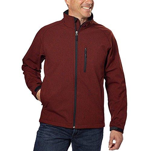 Kirkland SIGNATUR Mens Softshell 3-Layer Water Resistance Jacket Sequoia Red Heather XXL
