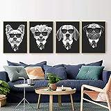 fdgdfgd Perro Animal decoración del hogar Arte de la Pared nórdico Lienzo Pintura Imprimir Blanco y Negro Dormitorio Sala de Estar Cuadros Retro