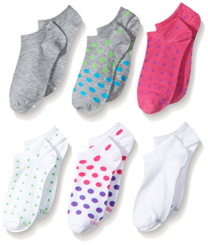 Hanes Mädchen Girls Premium No Show Legere Socken, 3 verschiedene Farben, Large