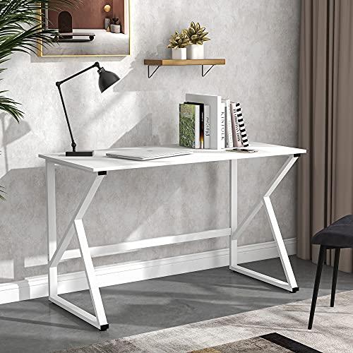 M MUNCASO Escritorio para ordenador, mesa de juegos con forma de K, mesa para ordenador portátil, estación de trabajo grande para salón, casa, oficina, fácil de montar (color blanco)