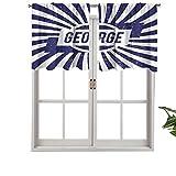 Hiiiman - Cortinas opacas para cortinas cortas, bolsillo para barra, con nombre en inglés en el fondo radial, juego de 1, 91,4 x 45,7 cm, pequeñas cenefas para dormitorio