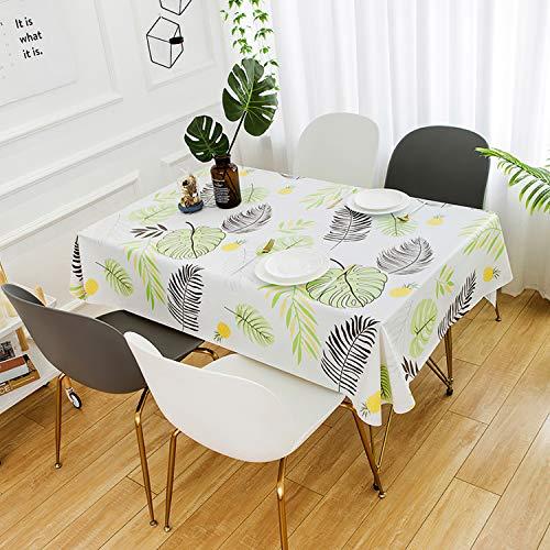 HETOOSHI Mantel para Mesa Rectangular de PVC Impermeable Resistente al Aceite Manteles de Plástico Antimanchas Hules para Mesas Comedor Cocina Multicolor (Patrón de la Hoja, 140 x 180 cm)