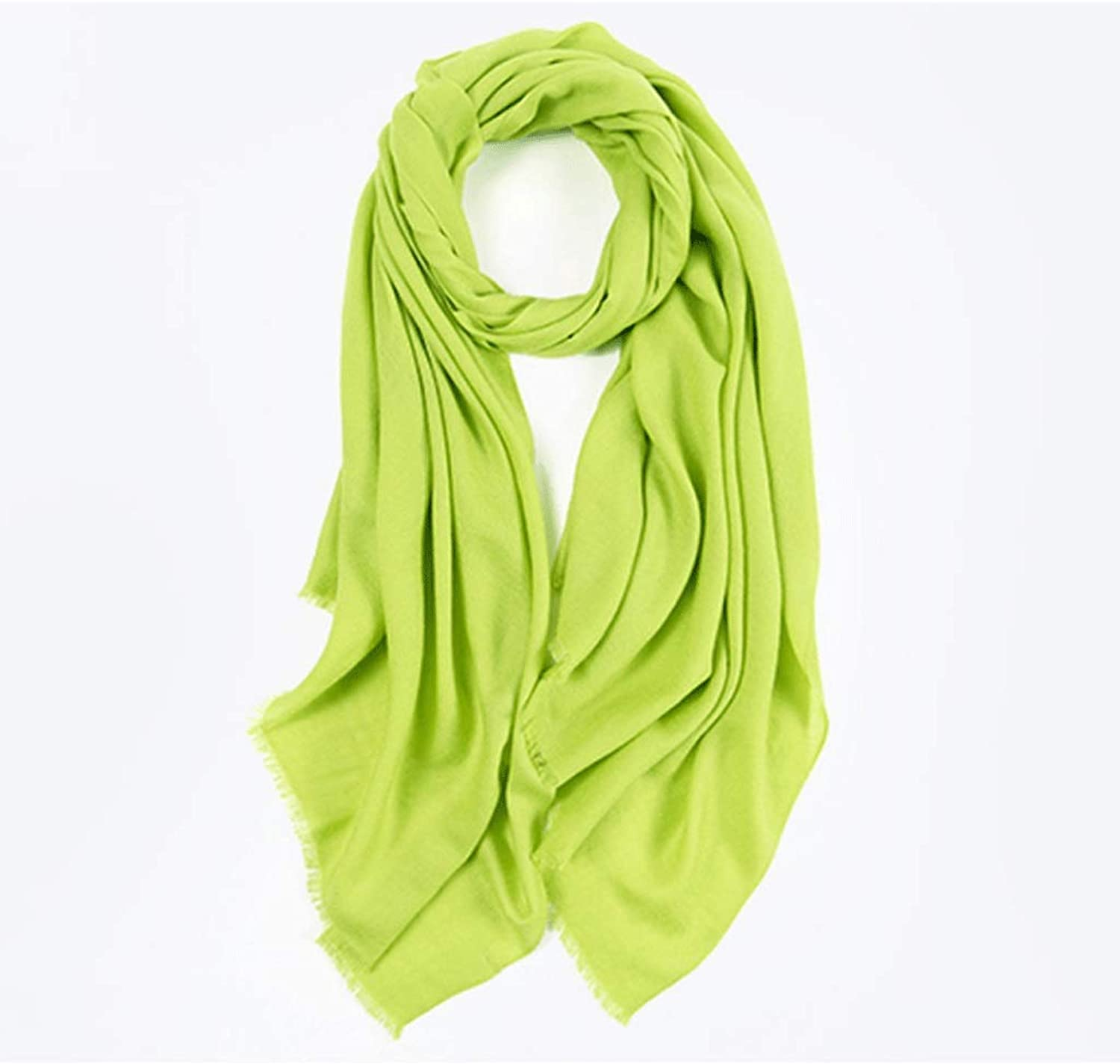 CCF Scarf Pure Wool Solid color Shawl Printing Process Winter Warm Long Scarf V (color   Green)