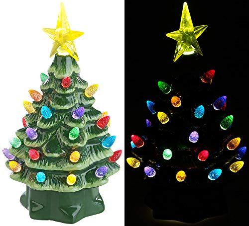 infactory Weihnachtsbaum klein: Deko-Weihnachtsbaum aus Keramik mit LED-Beleuchtung, Timer, 19 cm (Deko Weihnachtsbaum beleuchtet)