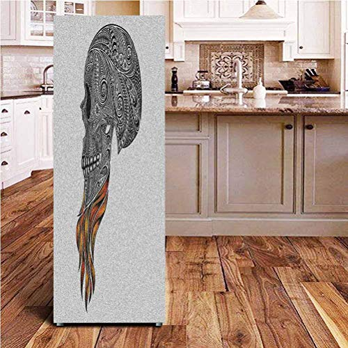 Angel-LJH Indie 3D Door Fridge DIY Stickers,Abstract Skull with Floral Ornaments and Red Beard Patterns Artsy Punk Door Cover Refrigerator Stickers for Home Gift Souvenir,24x70