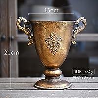 ヨーロッパスタイルのレトロな古い錬鉄製花瓶フラワースイカズマッツポットゴブレットクラシックフローラル飾り1pc (Color : V)