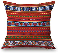 "Linara Boutique Decor Square Throw Pillow Cushion Cover African Kente MUDCLOTH Series for Couch, Sofa, Bed, Home Decor, Interior Design, 18"" X 18 (45CM X 45CM) (Orange&Red)"