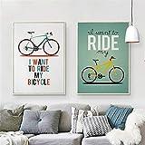 arteWOODS Minimalista Viajes Vintage Dibujos Animados Bicicleta Bicicleta Impresión Cartel Pared Imagen Lienzo Pintura Niños Habitación Decoración 50x70cmX2PCS sin Marco