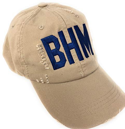 Custom Monogrammed BHM Birmingham-Shuttlesworth International Airport Code Baseball Hat (Distressed Khaki)