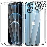 UniqueMe [5 Pack] 1 Schutzhülle Kompatible mit iPhone 12 Pro Max Hülle, 2 Schutzfolie Paznerglas und 2 Kamera Schutzglas,9H HD Klar Folie [Anti- Kratzer][9H Festigkeit] Silikon Hülle Cover - Transparent