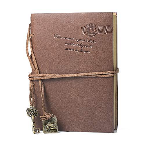 Wolintek Taccuino Travel Notebook Pagine Bianche Agenda in Cuoio in Stile Vintage Journal Diario con un Dono Gratuito