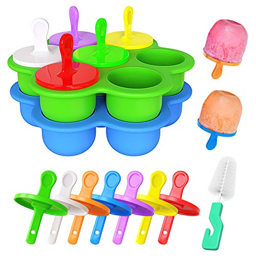 Ozera 2 Pack Popsicle Molds, Mini 7-cavity Ice Pop Molds, Food Grade Baby Popsicle Molds as Baby Food Freezer Trays, Silicone Popsicle Molds with Cleaning Brush