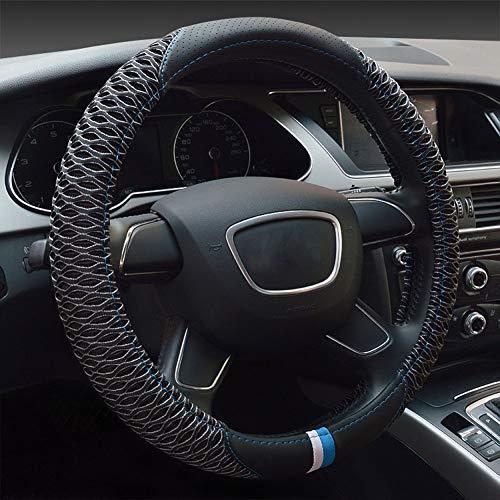 ZXTiL Auto Lenkradbezüge/Lenkradabdeckung Universal mit Eisseide, speziell für den Sommer, Spezielle Materialien, Die Hitze loswerden, Bieten EIN kühles Fahrerlebnis. (38 cm / 15 Zoll),Black