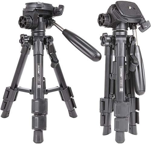 Zomei Q100 Mini-Reise-Tisch-Kamerastativ mit 3-Wege-Panel-/Neigekopf, 6,35 mm Schnellwechselplatte und Tasche für DSLR-Kamerastativ, Tragetasche (schwarz)
