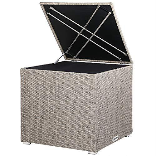 Casaria Poly Rattan Auflagenbox Innentasche mit Reißverschluss Gasdruckfeder 318 l Wasserdicht 75x75x70 cm Balkon Garten - Beige-Grau