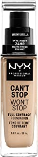NYX PROFESSIONAL MAKEUP Can't Stop Won't Stop Full Coverage Foundation, Warm Vanilla, 1 Fl Oz