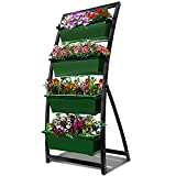 6-Ft Raised Garden Bed - Vertical Garden Freestanding Elevated Planter with 4 Container Boxes - Good for Patio or Balcony Indoor and Outdoor (1, Forest Green)