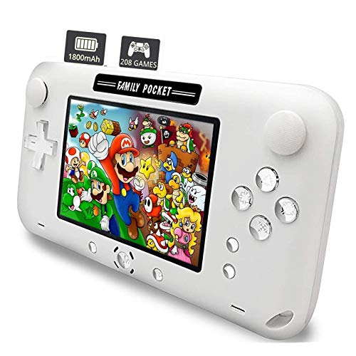 """Nicico Handheld Game Console, Portable Game Player Built-in 208 HD Classic Games 4"""" LCD Retro Gaming System, Support TV/AV 16 Bit Rechargeable Handheld Game Console/Support TF Card (Not Included)"""