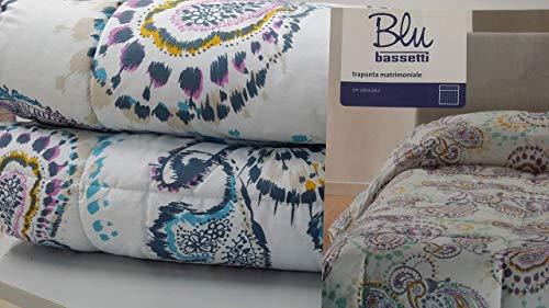 Bassetti Trapunta Invernale Matrimoniale 2 Posti Mis. 260X260Cm, Dis. Strange Col. Azzurro Chiaro, Tessuto 100% Cotone, Imbottitura 100% Poliestere
