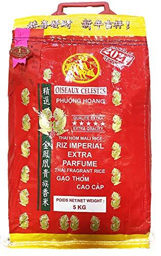 Riz Thai impérial extra parfumé qualité premium 5KG 2021 - Pelle à riz offerte - Marque Oiseaux Célestes - Année 2021 (Sac de 5KG)