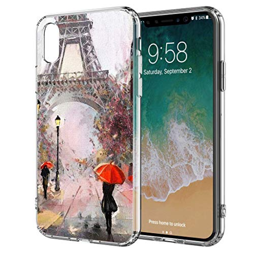 blitzversand Handyhülle Watercolour Paris France kompatibel für Huawei Y5 2018 roter Regenschirm Eifelturm Schutz Hülle Hülle Bumper transparent M7