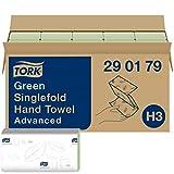 Tork Essuie-mains pliés en V Advanced - 290179 - Papier d'essuyage pour Distributeur H3 - Absorbant et indéchirable, 2 plis, vert - 15 x 250 feuilles