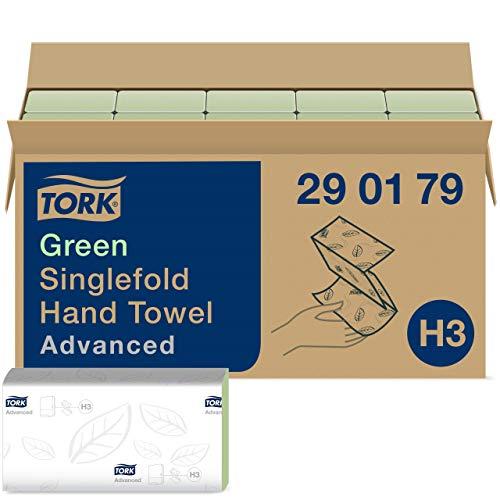 Tork 290179 Asciugamani Piegati a V Advanced, 2 Veli, Verde, 25X23 cm, 3750 Pezzi