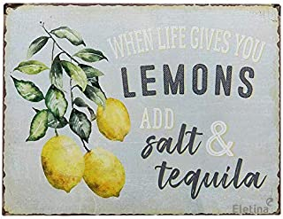 ifidex Jackgold Wall When Life Gives You Lemons Add Salt & Tequila Funny Retro Vintage Tin Bar Sign Country Home Decor 12 ...