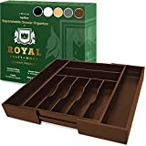 Bamboo Kitchen Drawer Organizer - Expandable Silverware Organizer/Utensil Holder and Cutlery Tray with Grooved Drawer Dividers for Flatware and Kitchen Utensils (9 Slots, Brown)