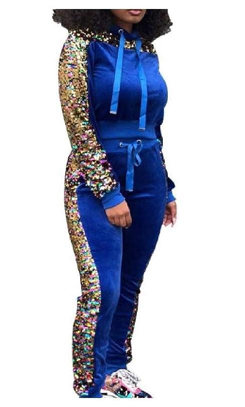責め空いている人道的Beeatree 女性ファッションスプライススパンコールカジュアルトップスアウトウェアとパンツセット