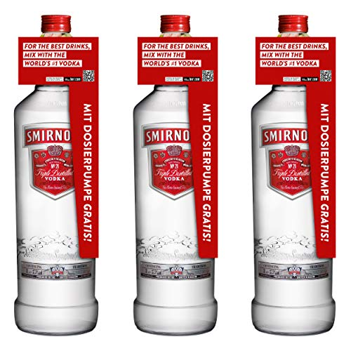 Smirnoff Red No. 21 Premium Vodka Triple Destilled, 3er, Wodka, Alkohol, Alkoholgetränk, Flasche mit Pumpe, 40%, 3 L, 715111