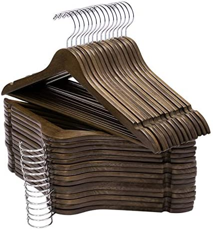 ELONG HOME Solid Wooden Hangers 30 Pack Slim Wood Coat Hangers with Extra Smooth Finish Precisely product image